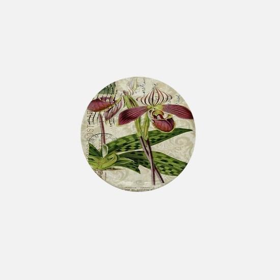 vintage orchid botanical art Mini Button