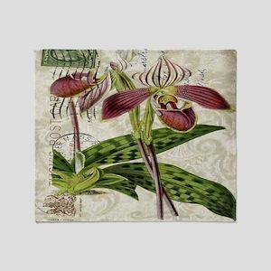vintage orchid botanical art Throw Blanket