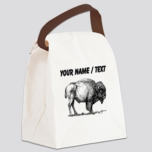 Custom Bison Sketch Canvas Lunch Bag