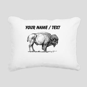 Custom Bison Sketch Rectangular Canvas Pillow