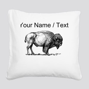 Custom Bison Sketch Square Canvas Pillow