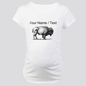 Custom Bison Sketch Maternity T-Shirt