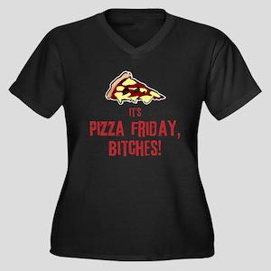 Pizza Friday Women's Plus Size V-Neck Dark T-Shirt