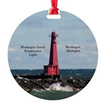 Muskegon South Breakwater Round Ornament