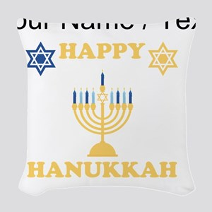 Custom Happy Hanukkah Woven Throw Pillow