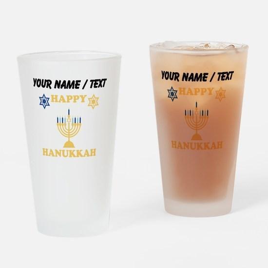 Custom Happy Hanukkah Drinking Glass