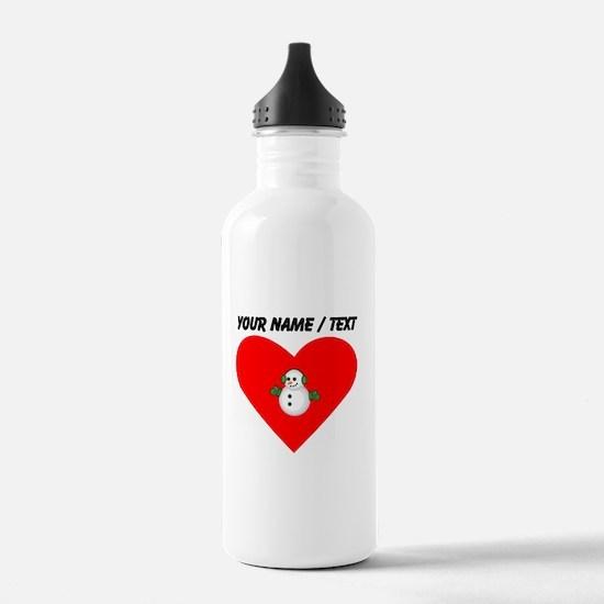 Custom Christmas Snowman Heart Sports Water Bottle