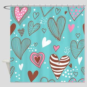 Cute Hearts Shower Curtain
