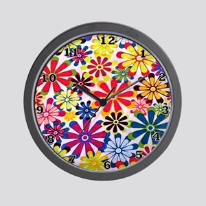 Hippie Flowers Wall Clock