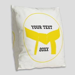 Martial Arts Yellow Belt Burlap Throw Pillow