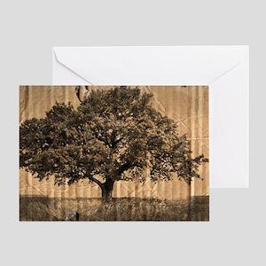 vintage oak tree modern decor Greeting Card