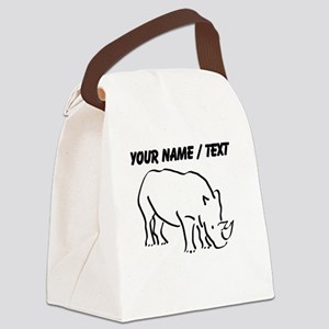 Custom Rhinoceros Drawing Canvas Lunch Bag