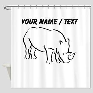 Custom Rhinoceros Drawing Shower Curtain