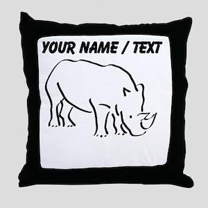 Custom Rhinoceros Drawing Throw Pillow
