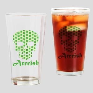 Arrish Irish Pirate Shamrock Skull Drinking Glass