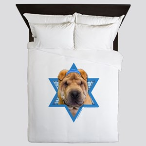 Hanukkah Star of David - Shar Pei Queen Duvet