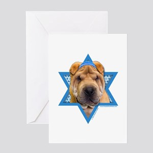 Hanukkah Star of David - Shar Pei Greeting Card