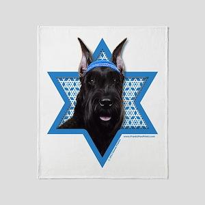 Hanukkah Star of David - Schnauzer Throw Blanket