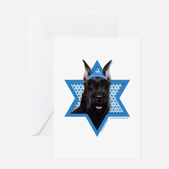 Hanukkah Star of David - Schnauzer Greeting Card