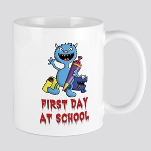 Little monster first day at school pupil comic fun