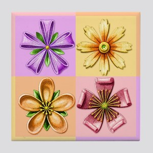Fanciful Flowers 2 Tile Coaster