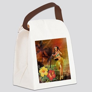 passion flower hawaii hula dancer Canvas Lunch Bag