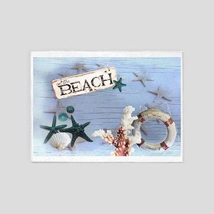 nautical seashells beach fashion 5'x7'Area Rug