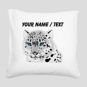 Custom Snow Leopard Square Canvas Pillow