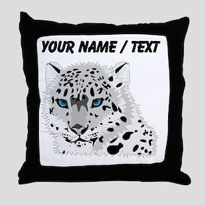 Custom Snow Leopard Throw Pillow