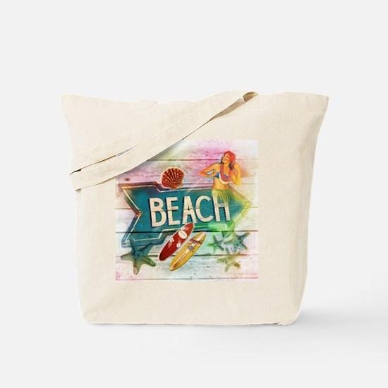 rainbow surfer beach  Tote Bag