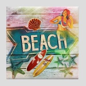 rainbow surfer beach  Tile Coaster