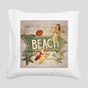 surfer beach fashion Square Canvas Pillow
