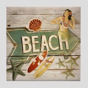 surfer beach fashion Tile Coaster