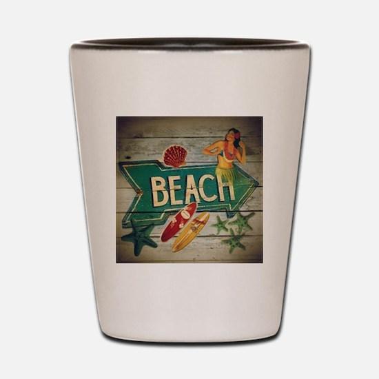 beach sign surfer Shot Glass
