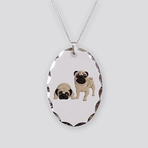 Pugs Necklace Oval Charm
