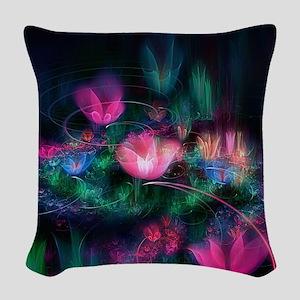Fairy Flowers Woven Throw Pillow
