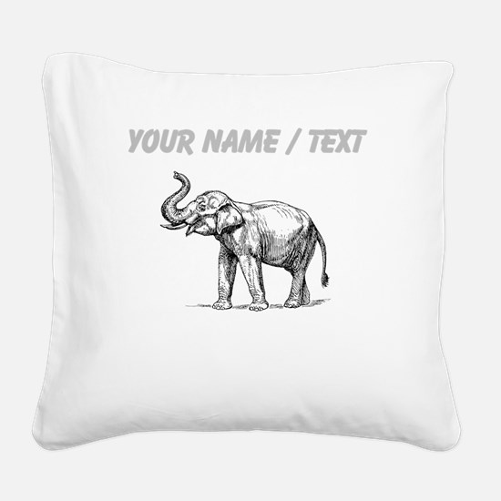 Custom Elephant Sketch Square Canvas Pillow