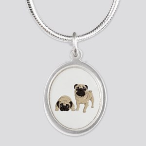 Pugs Silver Oval Necklace