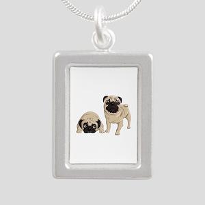 Pugs Silver Portrait Necklace