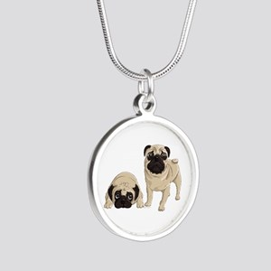 Pugs Silver Round Necklace