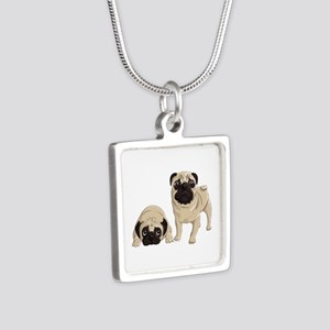Pugs Silver Square Necklace