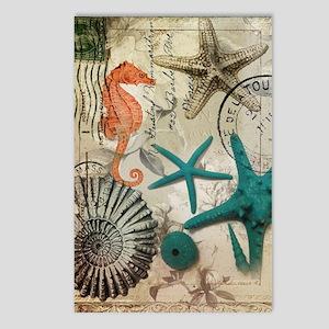 nautical seashells beach  Postcards (Package of 8)