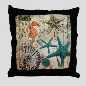nautical seashells beach decor Throw Pillow
