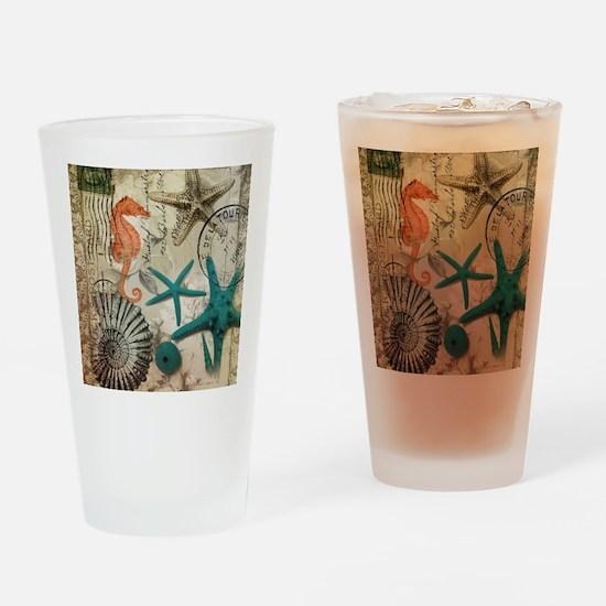 nautical seashells beach decor Drinking Glass