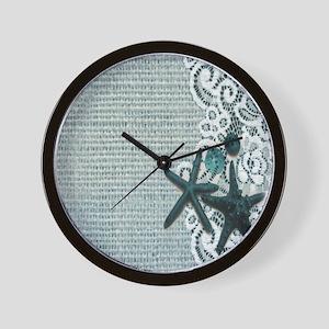 burlap seashells beach Wall Clock