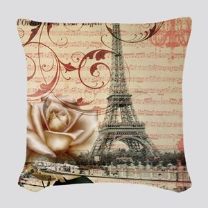vintage eiffel tower paris Woven Throw Pillow