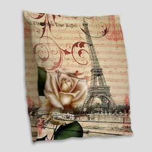 vintage eiffel tower paris Burlap Throw Pillow
