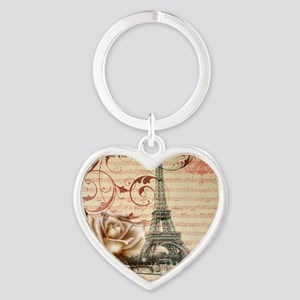 vintage eiffel tower paris Heart Keychain