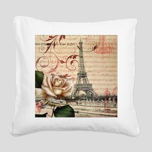 vintage eiffel tower paris Square Canvas Pillow