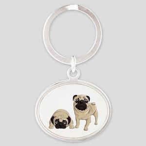 Pugs Oval Keychain